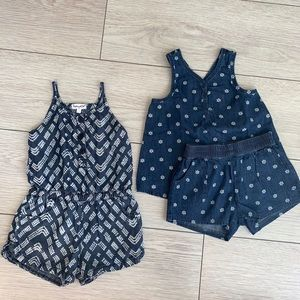 Girl's Chambray Denim Romper & 2-piece Outfit